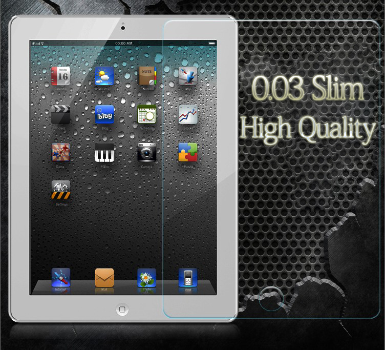 New Arrived Original 0.3mm Tempered Glass Screen Protector for Apple iPad 2 3 4 Glass Film Free Shipping With Retail Packing(China (Mainland))