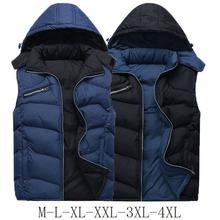 New Winter Vest Men Warm Cotton Mens Sleeveless Jacket Fashion Sport Coats Men Hooded Loose Chaleco,Black/Blue Big Size XXXL-4XL(China (Mainland))