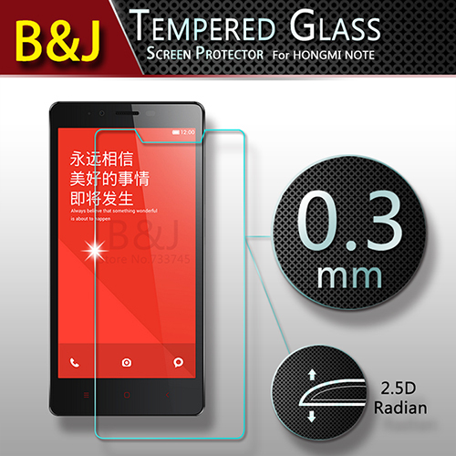 2.5D 0.3mm Original Round Edge Premium Tempered Glass Screen Protector Xiaomi Hongmi Redmi Note Anti-shatter Phone Film - Guangzhou B&J Trading Co., Ltd. store