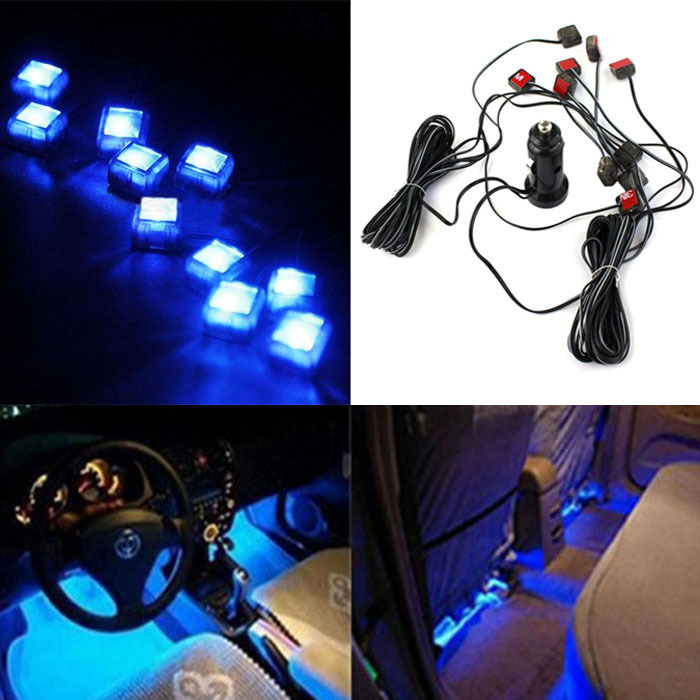 New 12V 10 in 1 Car Charger LED Interior Floor Decorative Light Lamp Blue(China (Mainland))