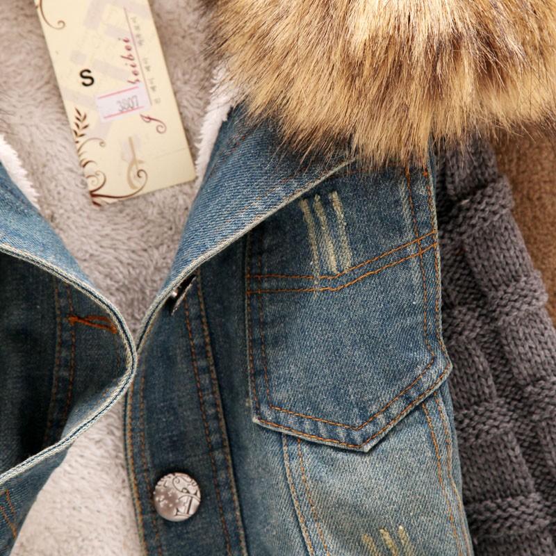 Скидки на 2016 новых осенью и зимой Надьямарош воротник шерстяной жакет рукав джинсовой джинсовая куртка