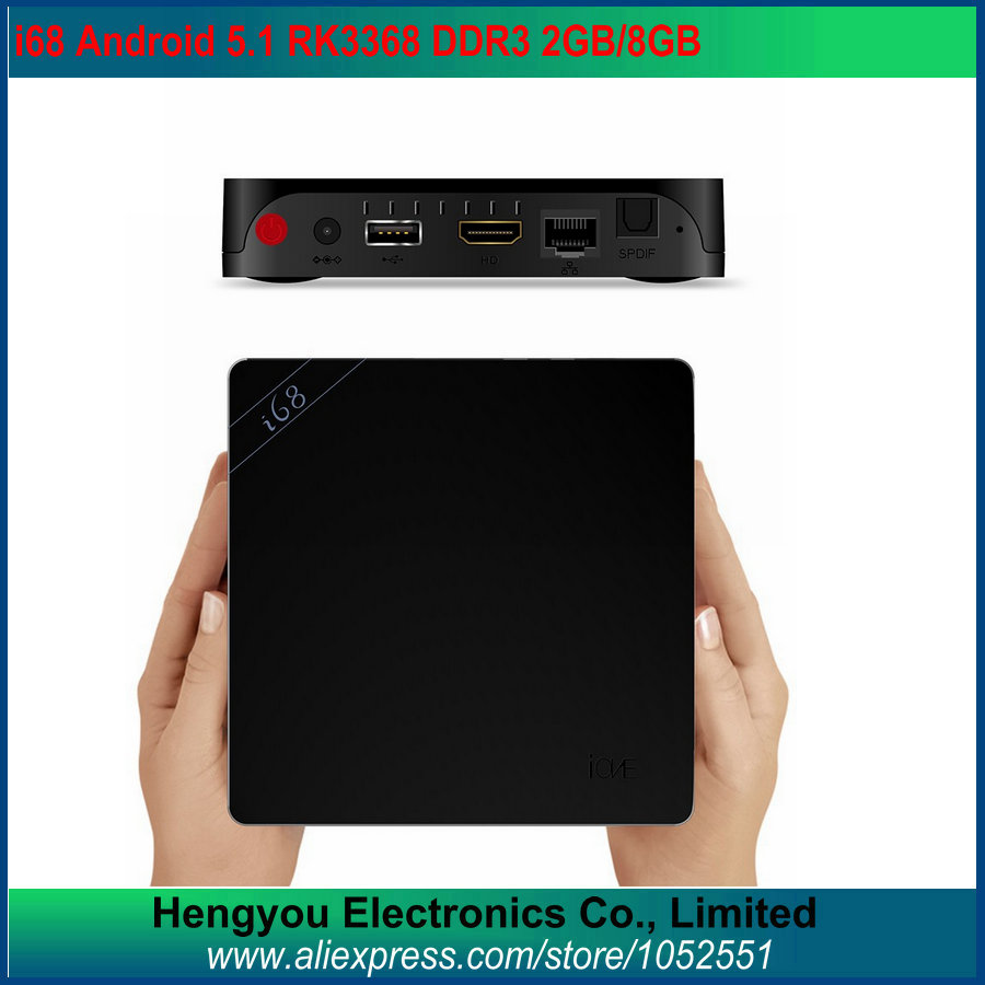 i68 Android 5.1 TV Box Rockchip RK3368 Octa Core 64Bit 2GB/8GB Bluetooth4.0 KODI 2.4G/5GHz Dual Wifi H.265 Gigabit Lan TV Box