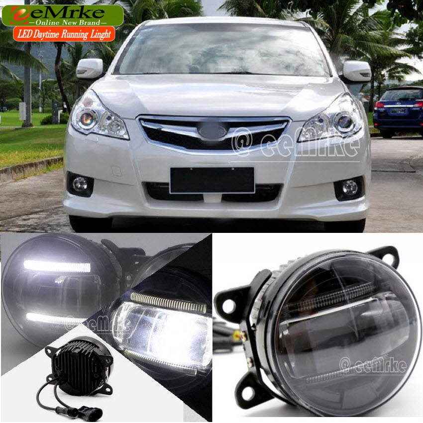 eeMrke Led DRL For Subaru Legacy 2010 2011 2012 2 in 1 LED Fog Lights Lamp With Q5 Lens Daytime Running Lights(China (Mainland))