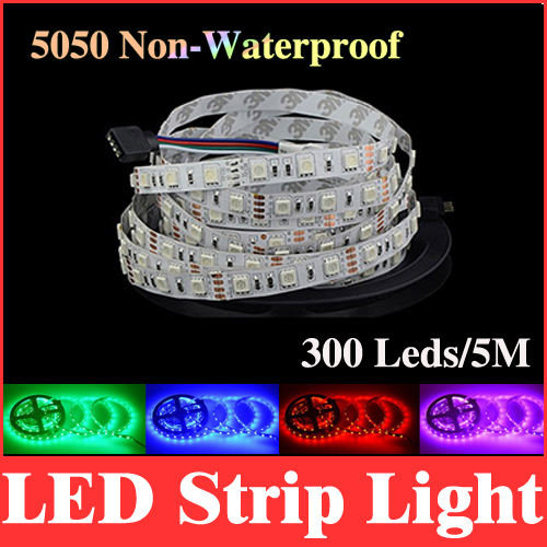led rgb 5050 strip light smd non-waterproof 5m 300 leds 12v monochrome red /green /blue /white /warm white /yellow 60led/m RS03(China (Mainland))