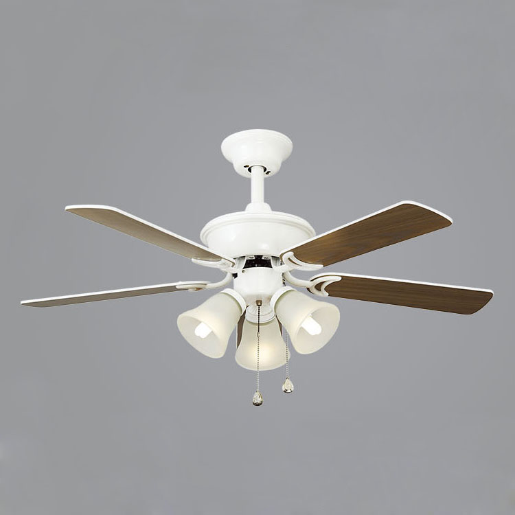 42 Inches Retro Ceiling Fan Quiet With Lamp 5 Leaves
