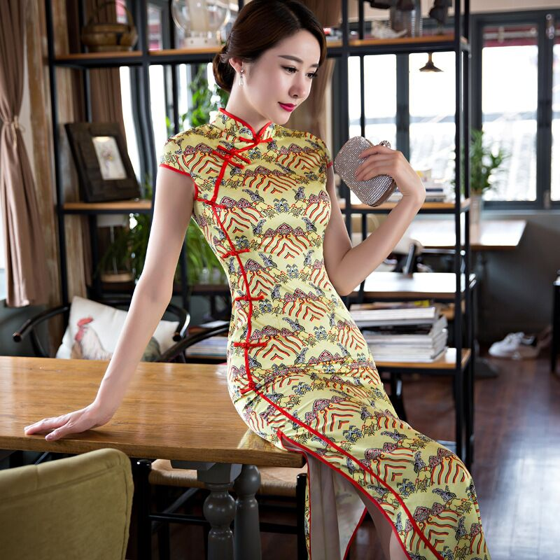 Noble Yellow Chinese Women Satin Long Cheongsam Hot Sale Traditional Style Qipao Dress Vestido Size S M L XL XXL XXXL 342579
