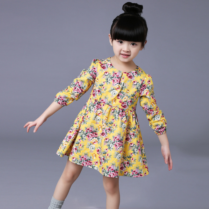 2-6 Ages Girls Dress Casual Long Sleeves Flower Princess Girl Dresses Summer Autumn 2016 Toddler Girl Clothing(China (Mainland))