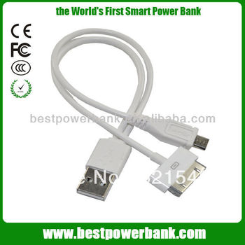 2in1 White Phone USB cable