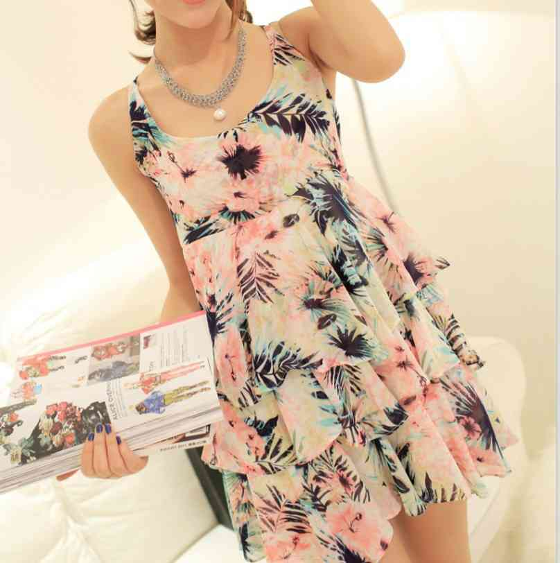 Free Shipping dresses female hem 2015 summer styles sweet floral straps chiffon cake 1435205125(China (Mainland))