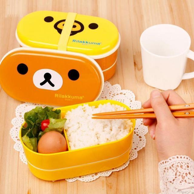 Мультфильм Rilakkuma Lunchbox Bento Lunch Box Пищевых Контейнеров С Палочки Для Еды Японский Стиль Пластиковые коробки для Завтрака