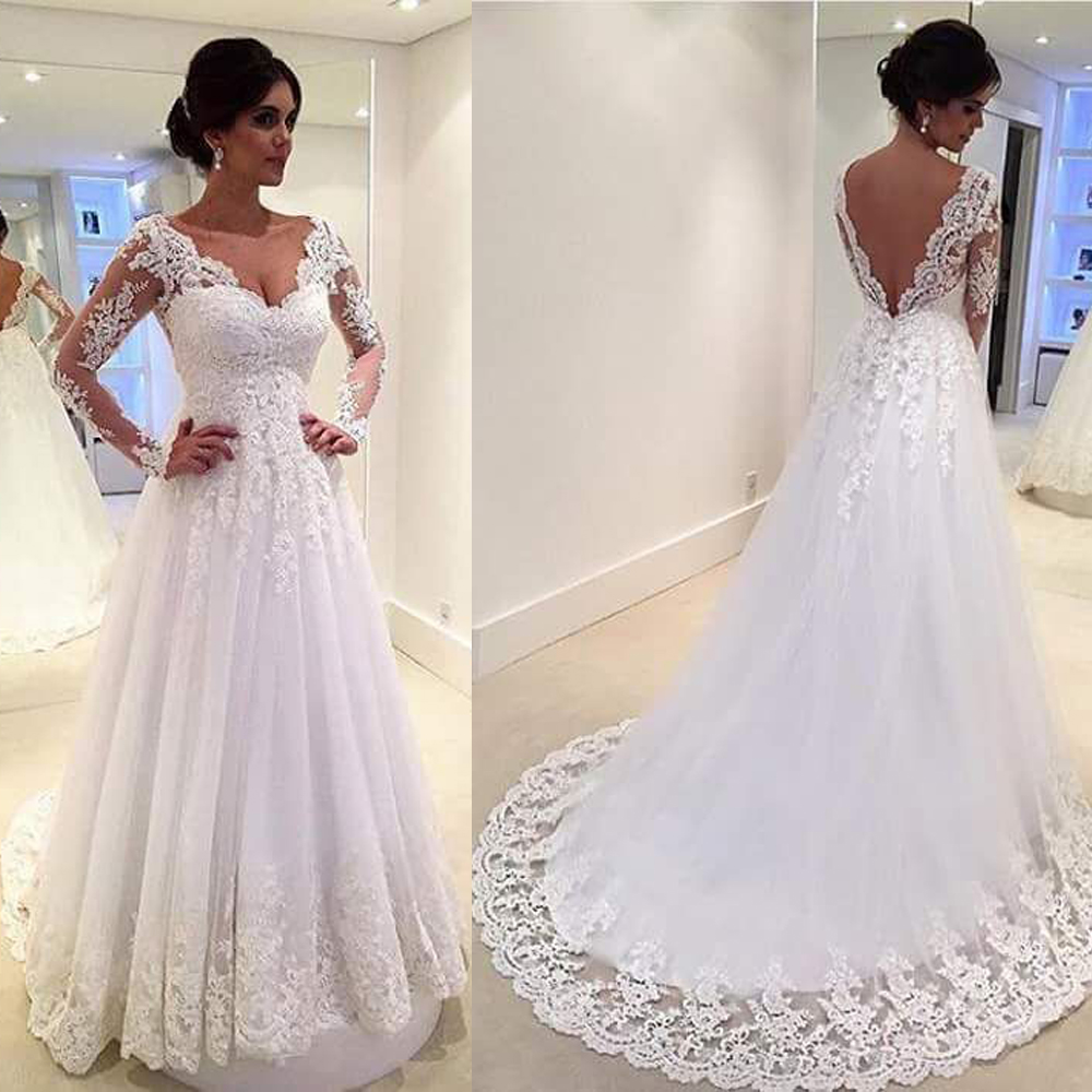 White vintage wedding gowns lace long sleeve open back a for Lace wedding dresses open back