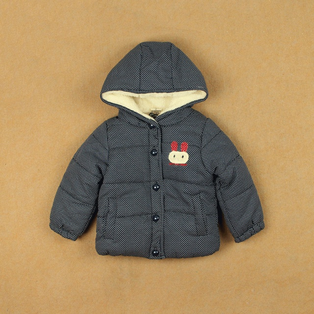 Rabbit polka dot winter male thickening cotton-padded long-sleeve outerwear hooded cardigan children's clothing thermal