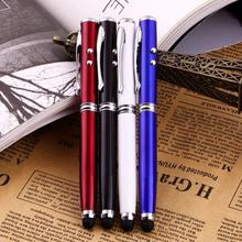 1pcs 4 in 1 Soft rubber tip Accurate Laser Pointer LED Torch Touch Screen Stylus Ball Pen for iPhone black  Hot Selling(China (Mainland))