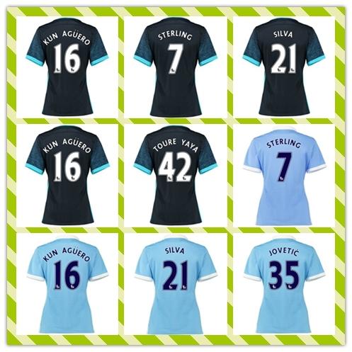New Product 2015-2016 Thailand City Women Women's #7 Sterling 16# Kun Aguero Silva Away Home Blue soccer Jersey Shirt(China (Mainland))