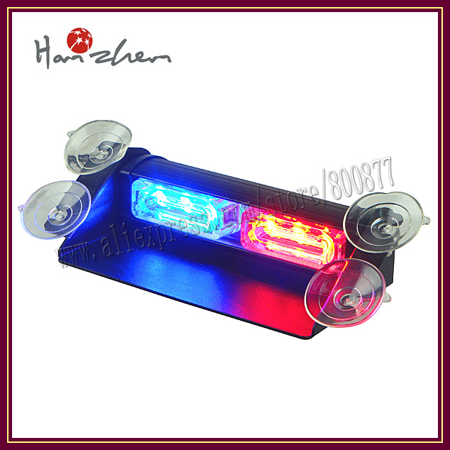 LED emergency traffic lights for car, 15 flash pattern, suction cups install, DC12V, 1W LED*6 (VS-718-2)(China (Mainland))