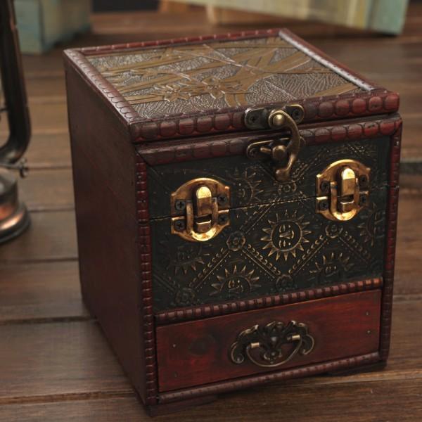 Antique Box Europe Type Restoring Ancient Ways of Creative Jewelry Box Multilayer Drawers with A Mirror Dressing Box Chest(China (Mainland))