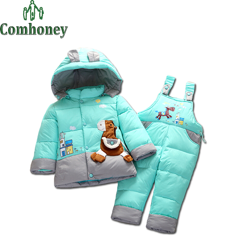 Boys Snowsuit Cute Cartoon Children's Winter Jacket for Boys Winter Coat Kids Child Down Jacket+Pants Children Clothes Outerwear(China (Mainland))