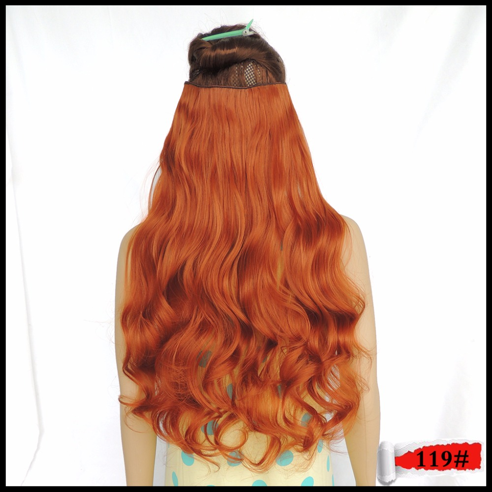 Ticking Style Hairpiece Clip in Extension Mega Apply Fast Hair Synthetic Haar Secret Curly 24inches 120g Copper Red 119 Color
