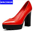 2017 New High heeled Shoes Pointed Toe Woman Pumps Wedding Shoes Platform Fashion Genuine leather Women