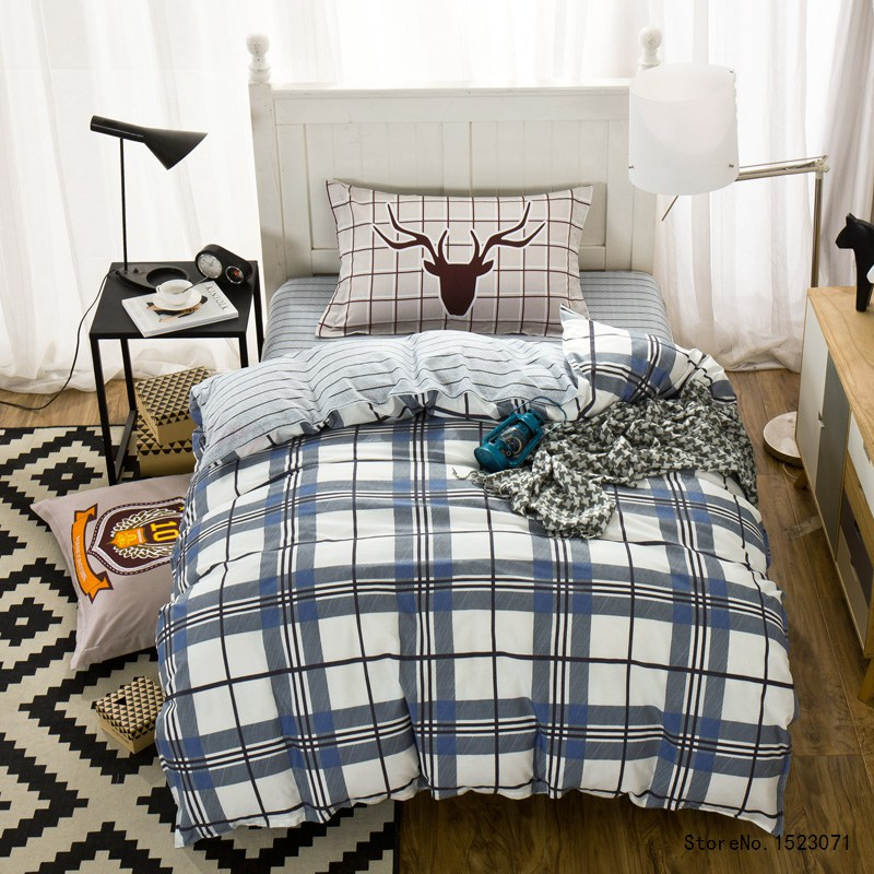 Popular blue plaid bedding buy cheap blue plaid bedding for Housse de couette in english