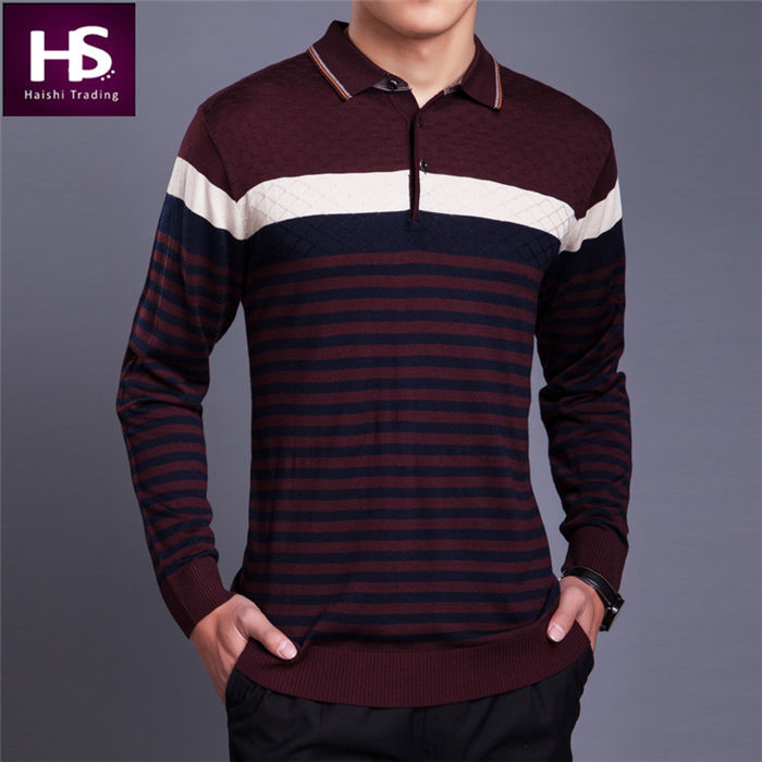 cashmere sweater men turn down collar long sleeve shirt