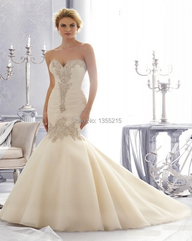 Buy fashion design elegant strapless for Beaded lace mermaid wedding dress
