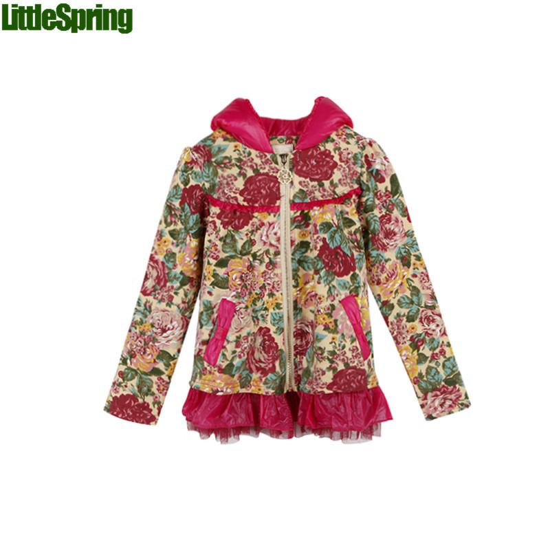 Children hooded fashion printed jacket spring and autumn long sleeves grenadine zipper big flower girls outwear coat TLZ-S0308<br><br>Aliexpress