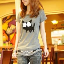 women clothing 2014 autumn -summer Fashion Cute Cartoon Cat Short-sleeve O-neck Slim shirt Women Top plus size shirts FE3131(China (Mainland))