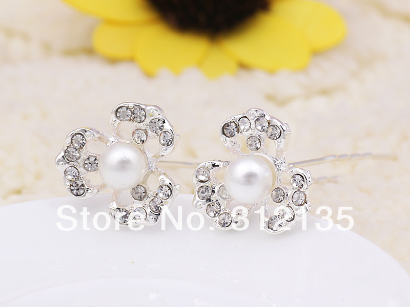 New Shining Crystal Flower Design Pearl Wedding Bridal Hair Pin Stick Silver Plating 2*2*7cm 12 - Daisy Daily store