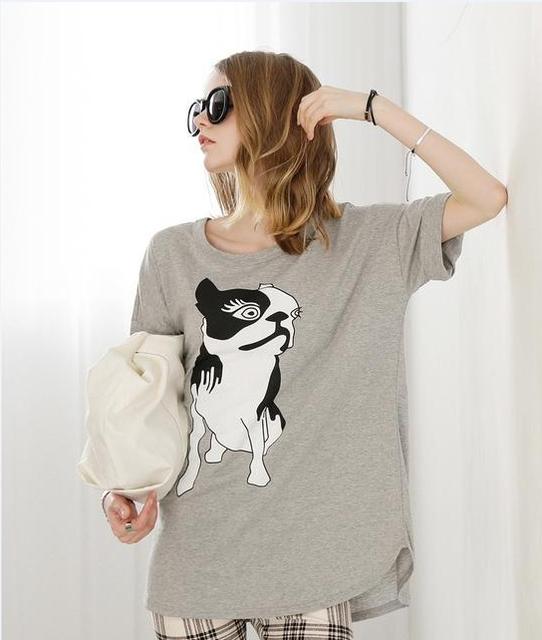2016 лета женщин футболку о-образным шеи европейский стиль мультфильм собака напечатаны длинные широкий с коротким рукавом высокое качество бесплатная доставка