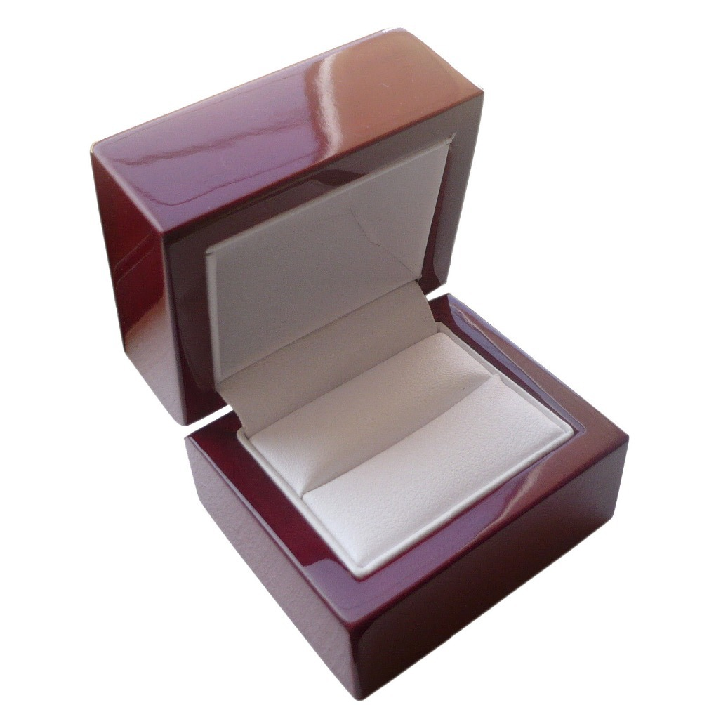Men's Women's Cherry Premium Wooden Jewelry Wedding Engagement Ring Rosewood Box with Metal Hinge 2.5''X2.5''X2''(China (Mainland))