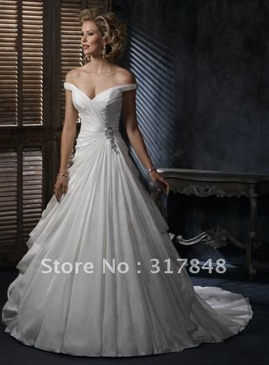 Inexpensive sexy designer free shipping custom made off-shoulder ruffle satin sweep train bridal gown wedding dresses WD212