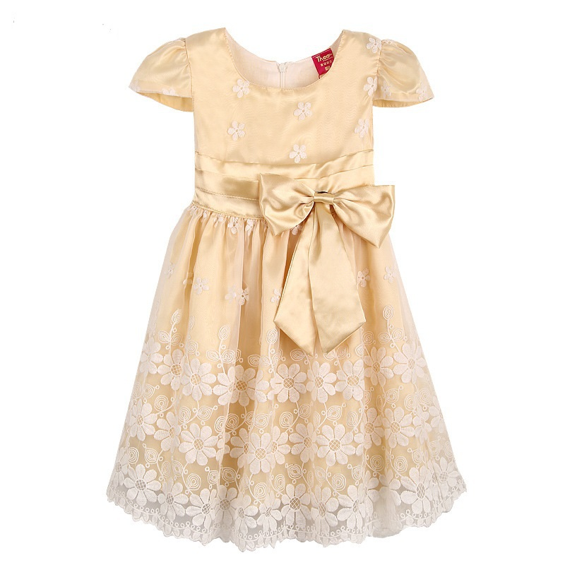 New Girl Dress Champagne Glass Lace Belt Party Pageant Bridesmaid Princess Child Clothing SZ 4-12(China (Mainland))