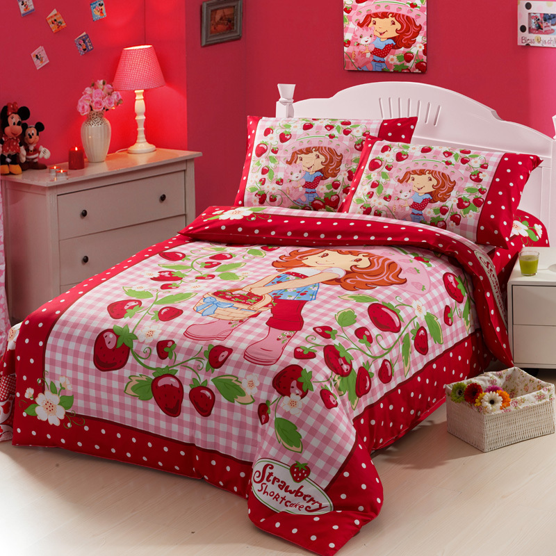 Kids Bed Strawberry Shortcake Bedding Set Cartoon Beding