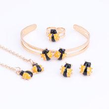 Fashion Girl Jewelry Lovely Ladybug Children Necklace Bangle Earring Ring Kids Baby Costume Jewelry Set 5 Colors(China)
