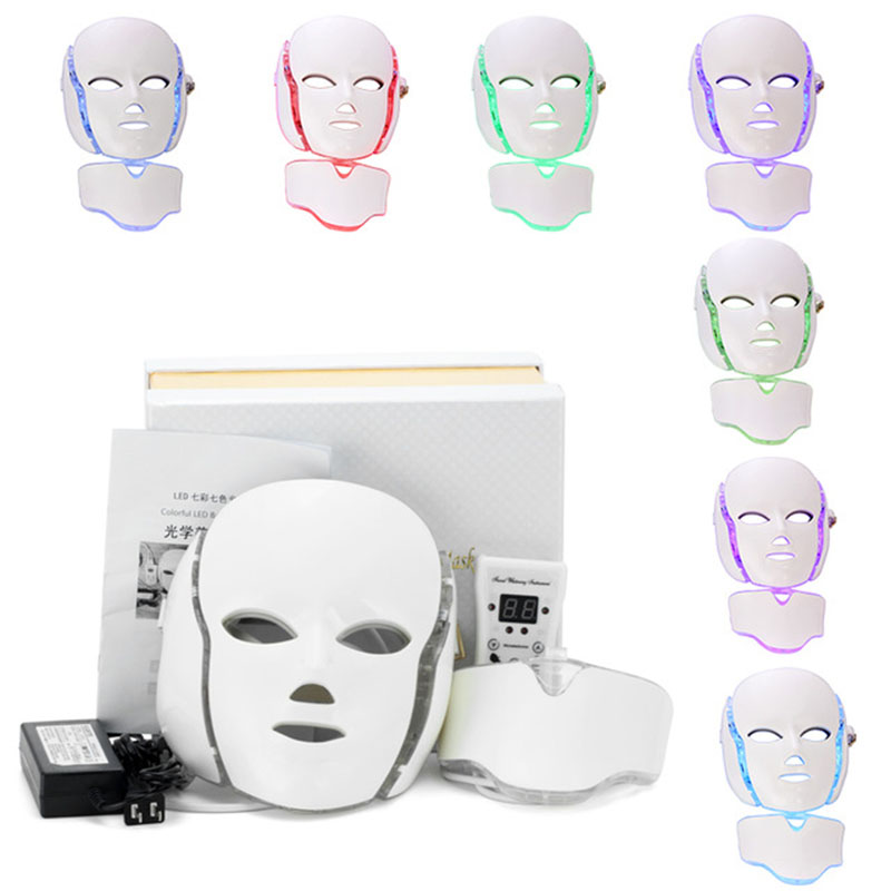 7 Colors Light Photon Electric LED Facial Neck Mask Skin PDT Skin Rejuvenation Anti Acne Wrinkle Removal Therapy Beauty Salon