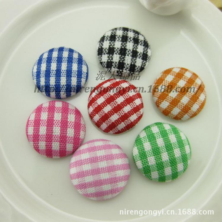 DIY jewelry accessories 15mm font b plaid b font flat buttons