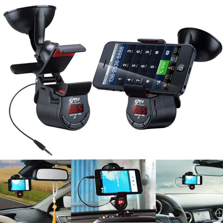 Car Kit MP3 Player Wireless FM Transmitter Radio Modulator Car Mount Holder Bracket for Iphone Samsung LG GPS Rotated 360 Degree(China (Mainland))