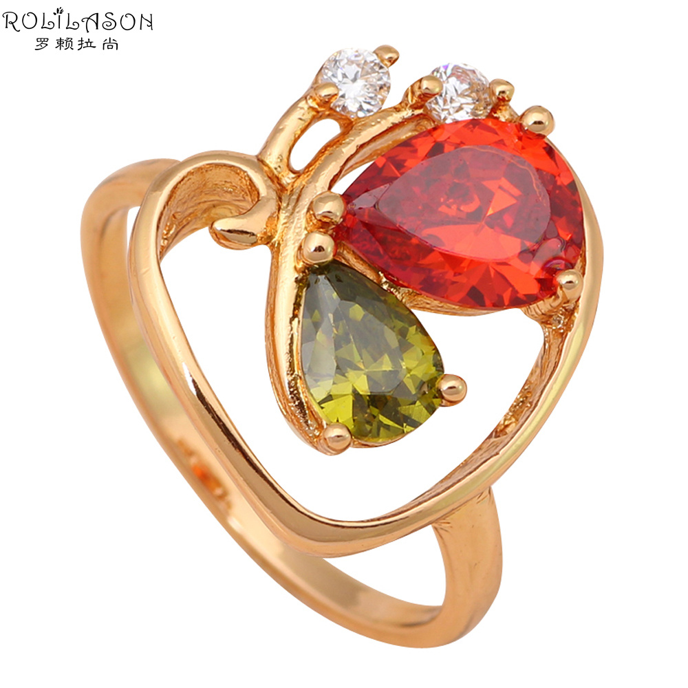 Color Crystal 18K Gold Plated Health Fashion Jewelry Nickel & Lead Free Golden Element Rings Size #7 #8 #6.75 JR1644(China (Mainland))