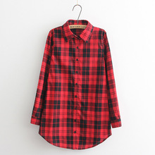Hot Sale Women Blouses Long Shirts Single Breasted Plaid Cotton Shirt Wild Casual Streetwear Shirt Women Plus Size Blouse BE66(China (Mainland))