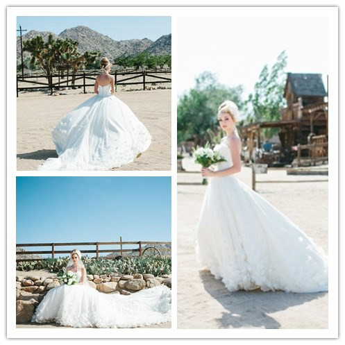 Summer Style Beach Wedding Dresses Bridal Gowns 2015 V Neck Long Tail Vestidos Wedding Gowns with Hand Made Flowers(China (Mainland))