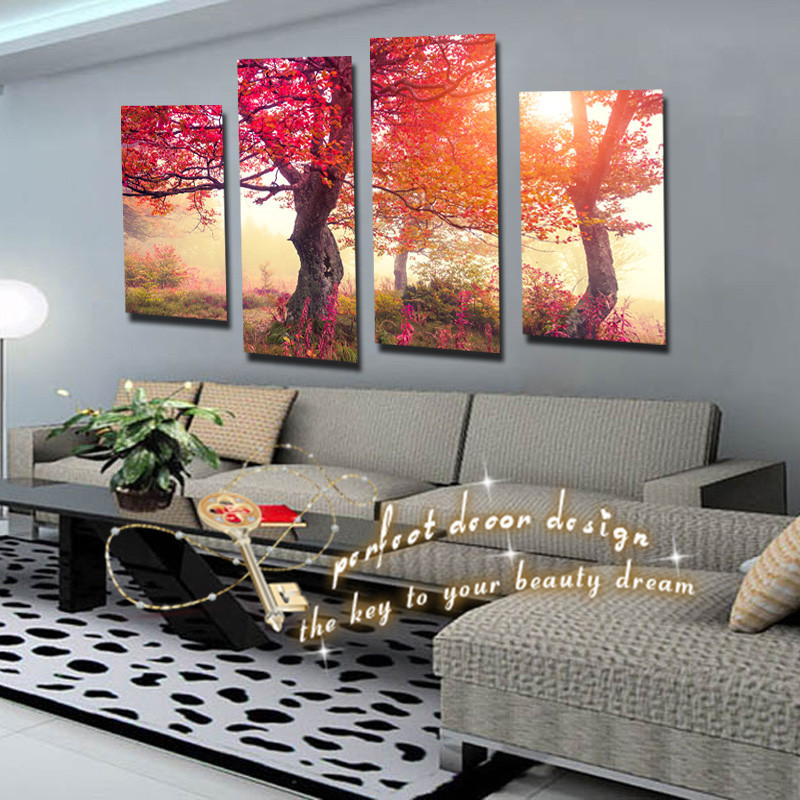 Hot selling 4 pcs wall art pictures home decor red trees for 4 all decor