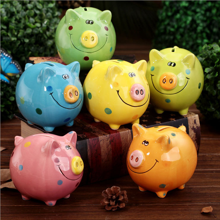 Colorful ceramic piggy bank money box ceramic coin bank for Piggy bank for toddlers