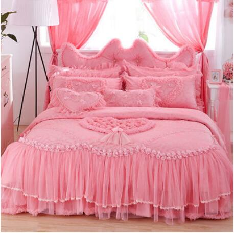 Luxury Lavender Lace Comforter Sets Queen/Twin Size Romantic Pink Purple Red Princess Duvet Cover Set Wedding Bedding Bed Skirts(China (Mainland))