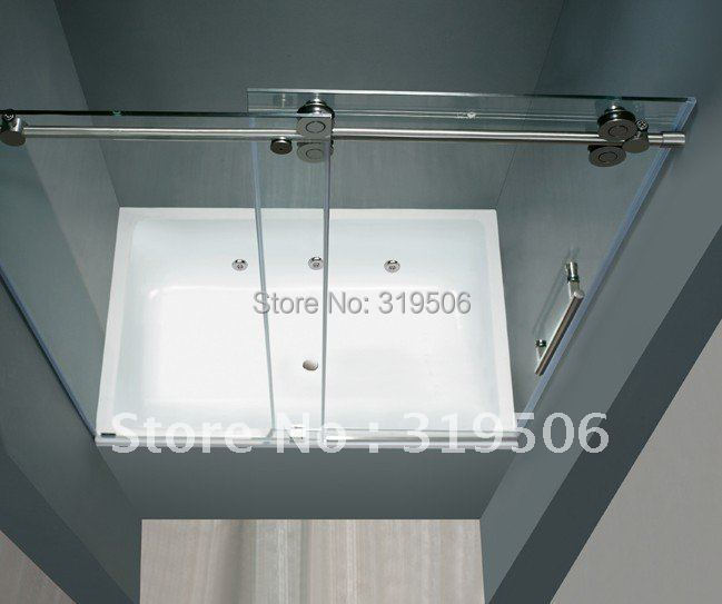 Free shipping frameless sliding glass shower door full set 304 stainless steel hardware roller for Stainless steel bathroom doors