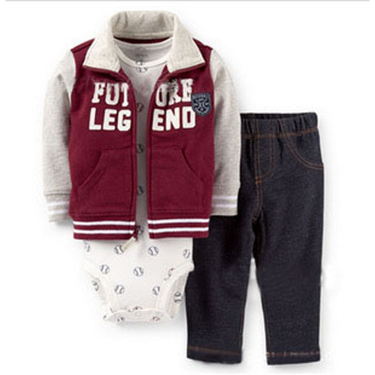 Retail and wholesale 2015 baby boy clothing set Spring autumn 3pcs (Coat + T-shirt, pants) cater's children's clothes(China (Mainland))