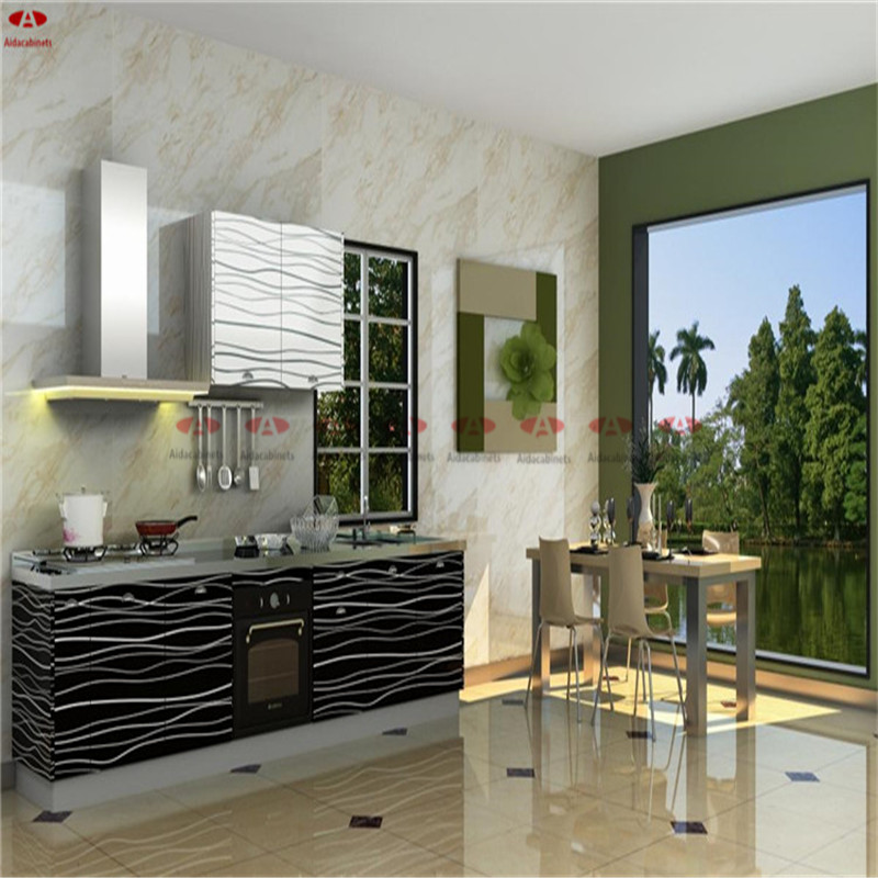 Factory high gloss stainless steel commmercial black kitchen cabinets with sink(China (Mainland))