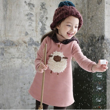 Hot sale 2-6years  winter girls clothes cotton warm girls hoodies long sleeve cartoon shaun the Sheep girl hoodies sweatshirts(China (Mainland))