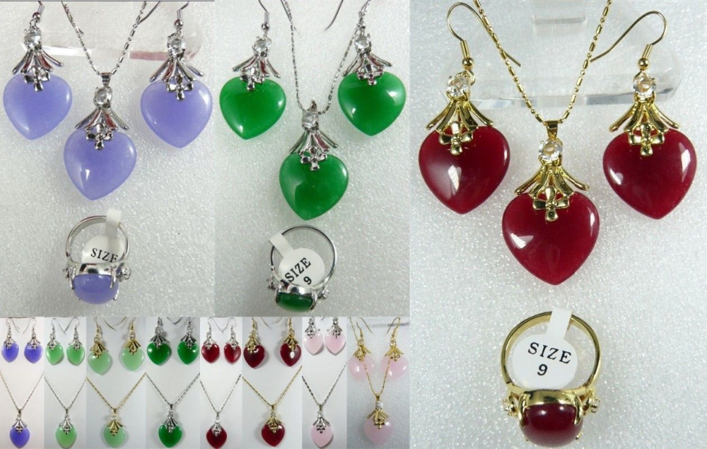 11.22 11 color-purple/green/pink/red heart love jade 18KGP pendant earrings /ring set can choose(China (Mainland))