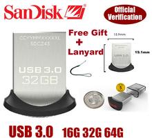 2015 New Arrival USB 3.0 Flash drive 100% Original Genuine Sandisk Cruzer Fit CZ43 64gb 32gb 16gb smart mini Usb Free shipping(China (Mainland))